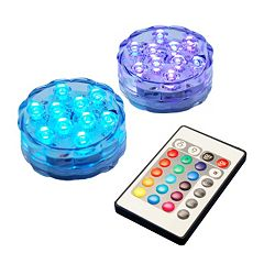LumaBase Submersible Multi-Color LED Light 2 pc Set
