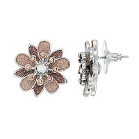 Glittery Tiered Flower Stud Earrings