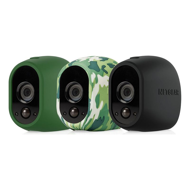 Netgear Arlo Camera Silicone Replacement Skins (3-Pack), Multicolor Protect your security camera with this Netgear Arlo silicone skin. UV and water resistant For indoor and outdoor use Convenient slip-on, slip-off design Provides access for mounting and to the battery compartment What's Included Black silicone skin Green silicone skin Camouflage silicone skin 2.91 H x 1.77 W x 2.64 D Weight: 0.04 lbs. Compatible with Netgear Arlo wireless HD security cameras Silicone Manufacturer's 1-year limited warrantyFor warranty information please click hereFor information about the modified return policy, please click here Model no. VMA1200-10000S .