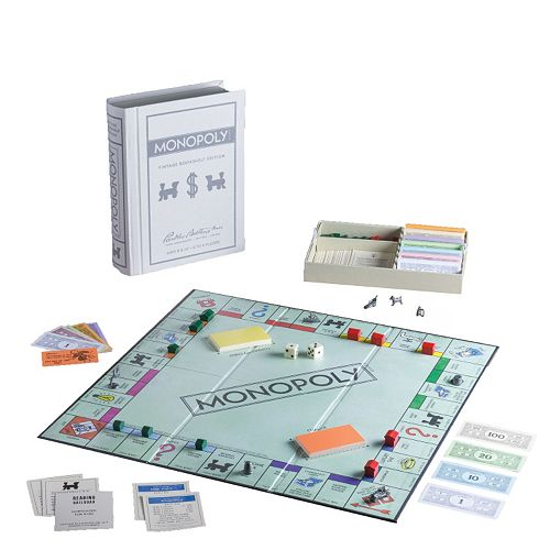 Monopoly Game Linen Vintage Bookshelf Edition by Winning Solutions