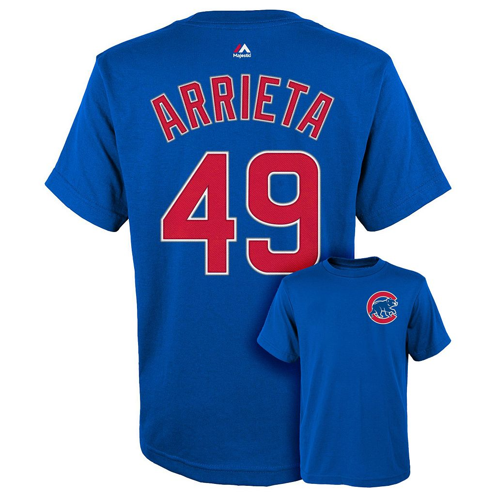 Boys 8-20 Majestic Chicago Cubs Jake Arrieta Player Name and Number Tee