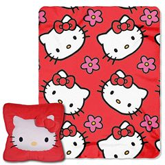 Hello Kitty Kitty Flowers 3D Pillow & Throw Set