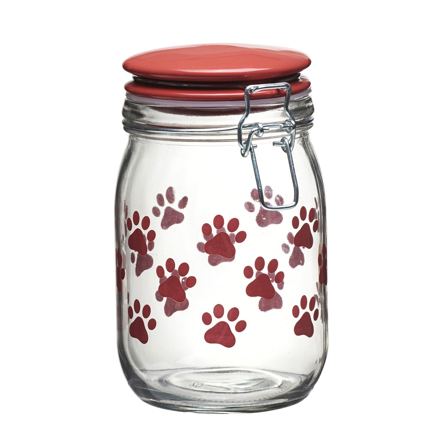 Charmant Global Amici Pet Paw Hermetic Glass Storage Jar. Red Black Turquoise