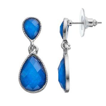 Blue Double Teardrop Earrings