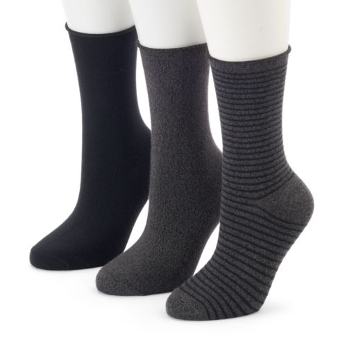 Women's SONOMA Goods for Life™ 3-pk. Marled Roll Top Crew Socks