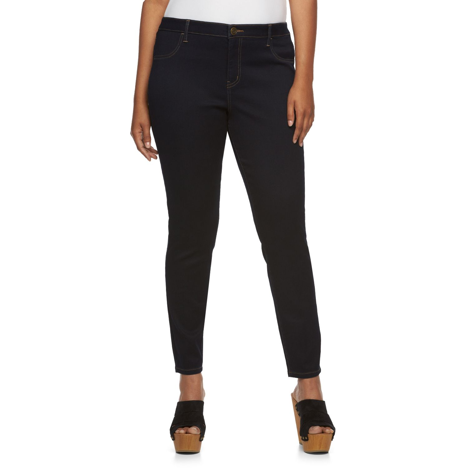 Juniors Plus Size SO?  High-Waisted Denim Ankle Jeggings