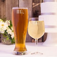 Cathy's Concepts 2 pc Couples Pilsner & Wine Glass Set