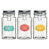 Global Amici Rise & Shine 3 pc Hermetic Glass Storage Jar Set