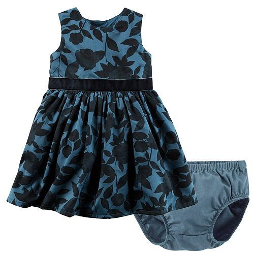 Baby Girl Carter's Floral Shirred Sateen Dress