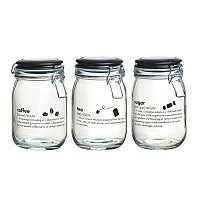 Global Amici Oxford Kitchen 3 pc Hermetic Glass Storage Jar Set