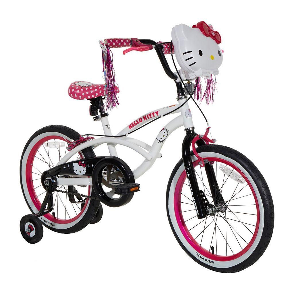 Girls Hello Kitty 18-Inch Wheel Light-Up Bike with Training Wheels