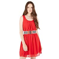 Juniors' IZ Byer Belted Pintuck Dress