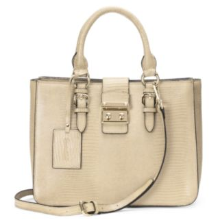 Donna Bella Elly Faux-Crocodile Convertible Leather Satchel