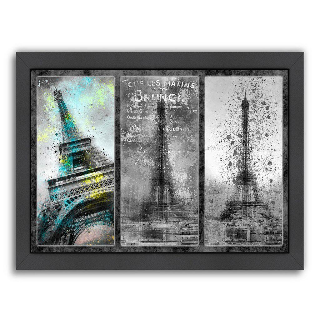 Americanflat Paris Eiffel Tower Collage Framed Wall Art