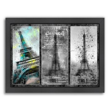 Americanflat Paris Eiffel Tower Collage Framed Wall Art