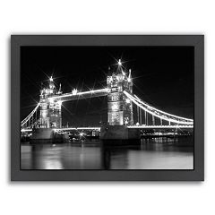 Americanflat Monochrome London Tower Bridge Framed Wall Art
