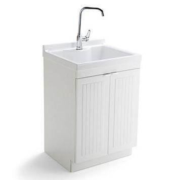 Simpli Home Murphy Laundry Sink Cabinet & Faucet