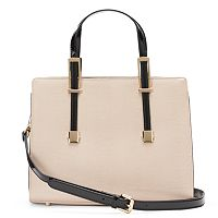 Donna Bella Chloe Snakeskin Convertible Leather Satchel