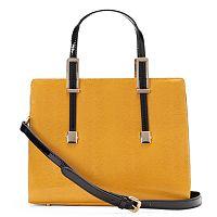 Donna Bella Chloe Snakeskin Convertible Leather Satchel