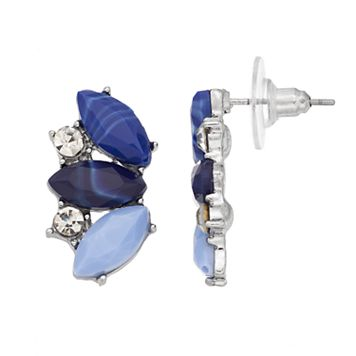 Blue Marquise Cluster Drop Earrings