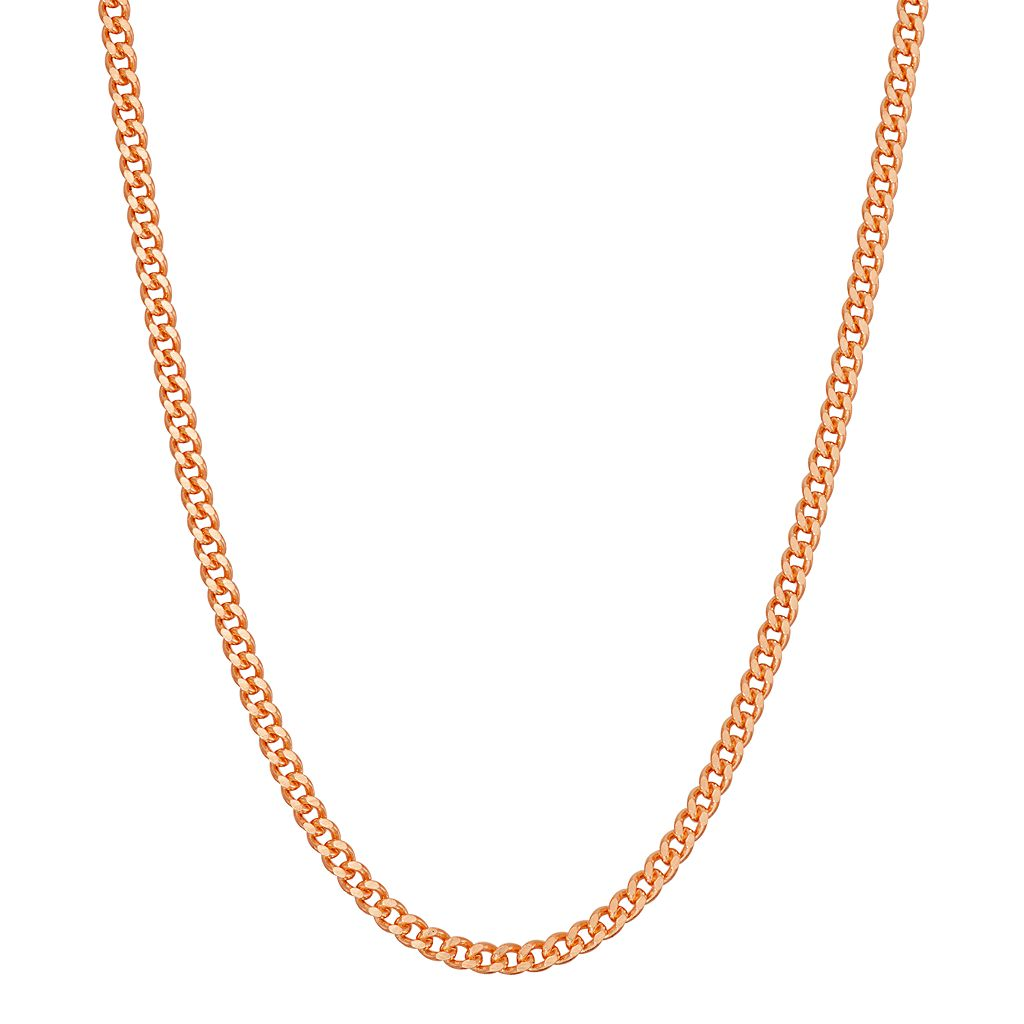 14k Rose Gold Over Silver Curb Chain Necklace - 24 in.