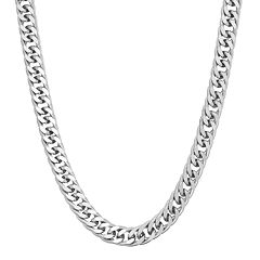 Men's Sterling Silver Curb Chain Necklace - 18 in