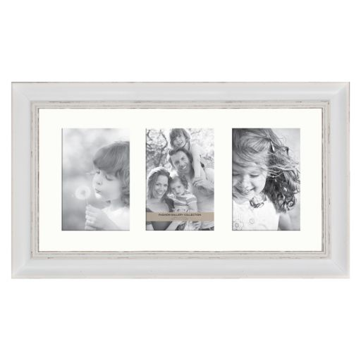 Fashion Gallery Collection 4'' x 6'' Distressed White 3-Opening Frame