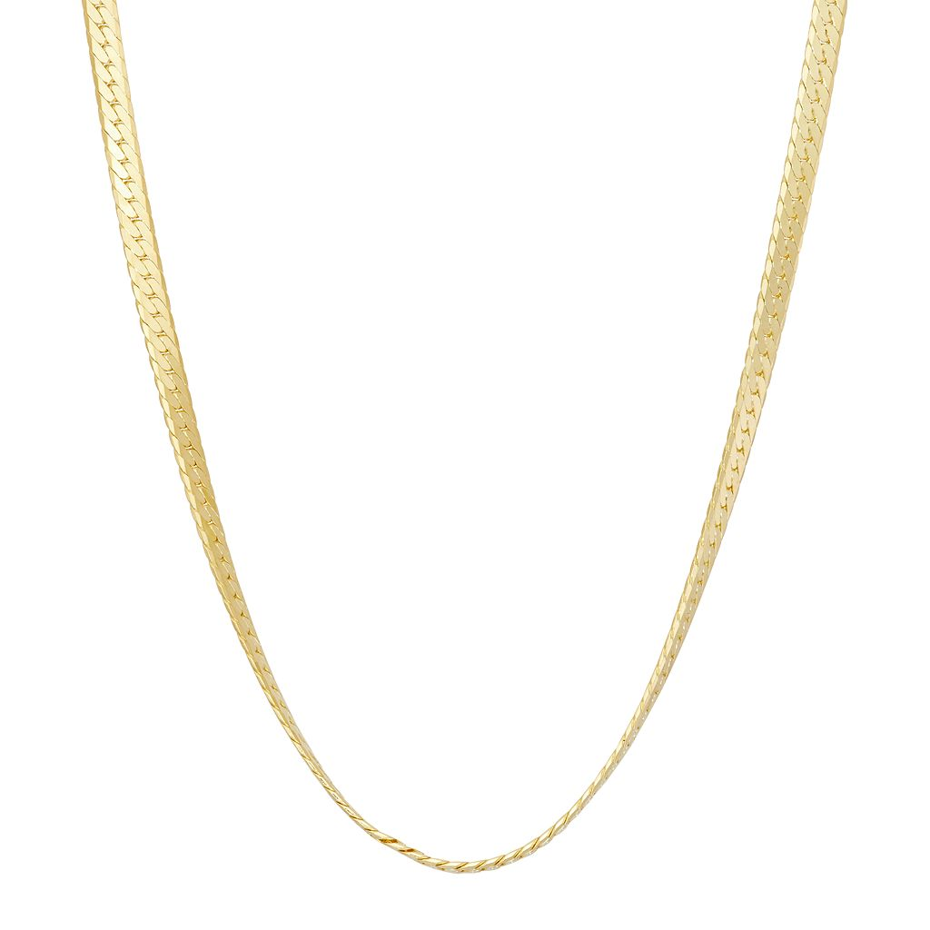 14k Gold Over Silver Herringbone Chain Necklace - 20 in.