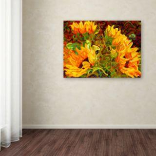 Trademark Fine Art Four Sunflowers Canvas Wall Art