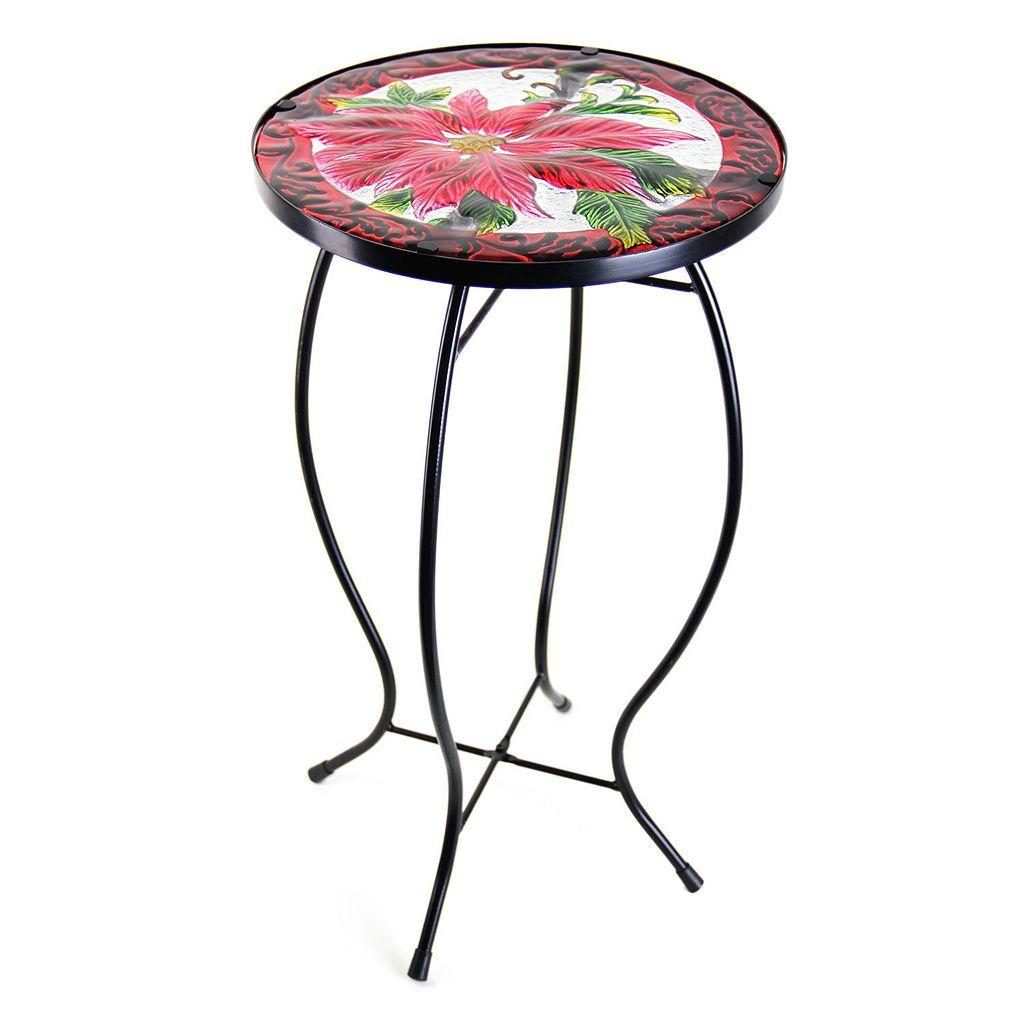 Exhart Poinsettia Glass Outdoor Bistro Table