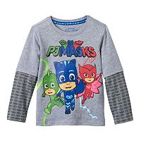 Toddler Boy PJ Masks Gekko, Catboy & Owlette Printed Mock-Layered Long Sleeve Tee