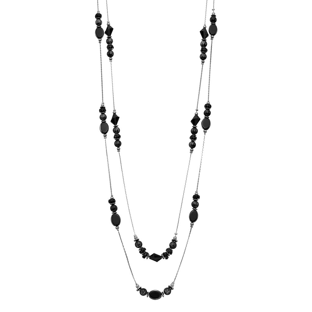 Black Beaded Long Double Strand Station Necklace