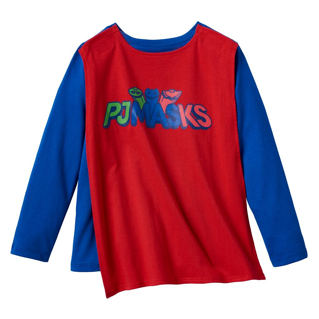 Toddler Boy PJ Masks Gekko, Catboy & Owlette Graphic Tee with Removable Cape