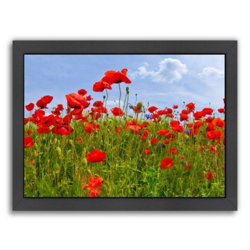 Americanflat Field Of Poppies Panoramic View Framed Wall Art