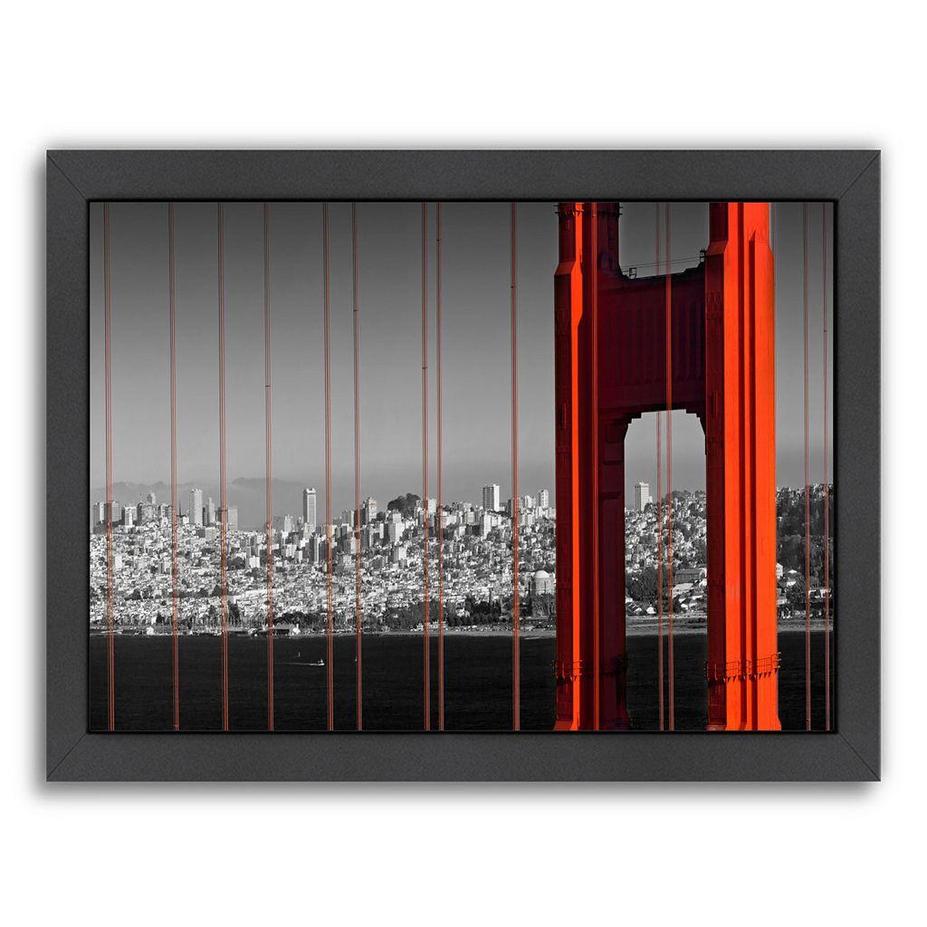 Americanflat Golden Gate Bridge Panoramic View Framed Wall Art