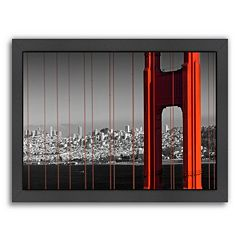 Americanflat Golden Gate Bridge Panoramic View Framed Wall Art