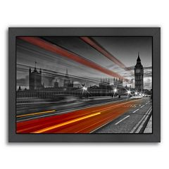 Americanflat London Westminster Bridge & Red Bus Framed Wall Art