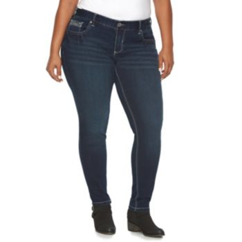 Plus Size Rhythm in Blues Embroidered Skinny Jeans