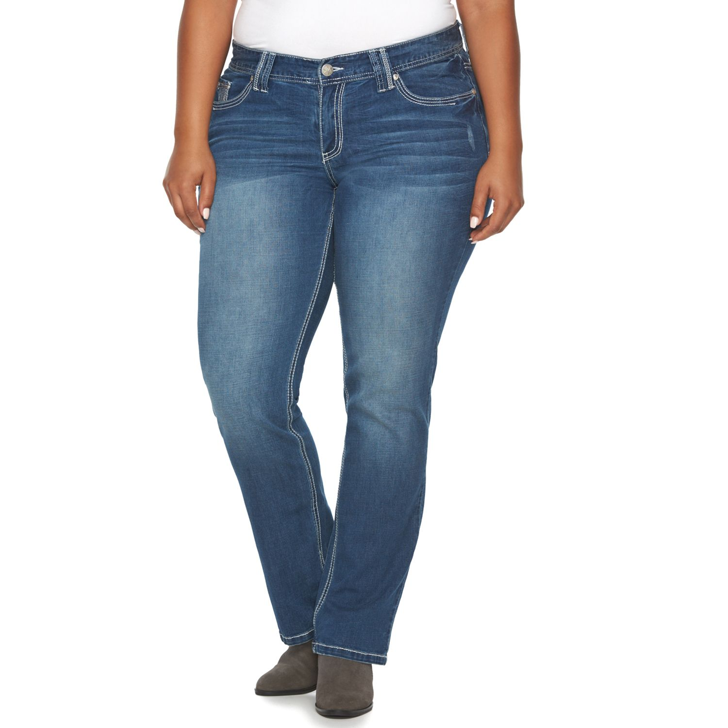 Plus Size Rhythm in Blues Ripped Slim Bootcut Jeans