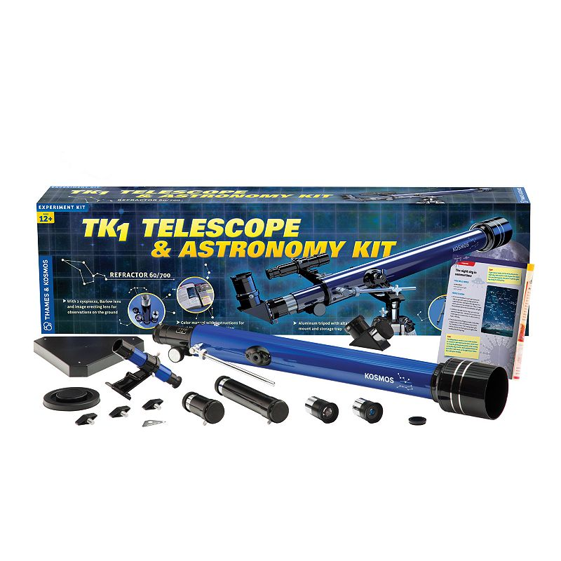 Thames & Kosmos TK1 Telescope & Astronomy Kit Explore the cosmos with this Thames & Kosmos TK1 Telescope & Astronomy Kit, which includes a high-quality refractor telescope with coated glass optics and plenty of accessories allows for countless exciting space observations. Beginners & advanced amateur astronomers can appreciate the quality optics, durable construction, sturdy aluminum tripod & comprehensive, easy-to-follow astronomy book Quickly find the moon, constellations or planets in the night sky Terrestrial observations on Earth are also possible by using the 1.5x image reversal lens 15-piece Age: 12 years & up Manufacturer's 1-year limited warranty For warranty information please click here Imported Model number: 677015  Size: One Size. Color: Multicolor. Gender: unisex. Age Group: kids.