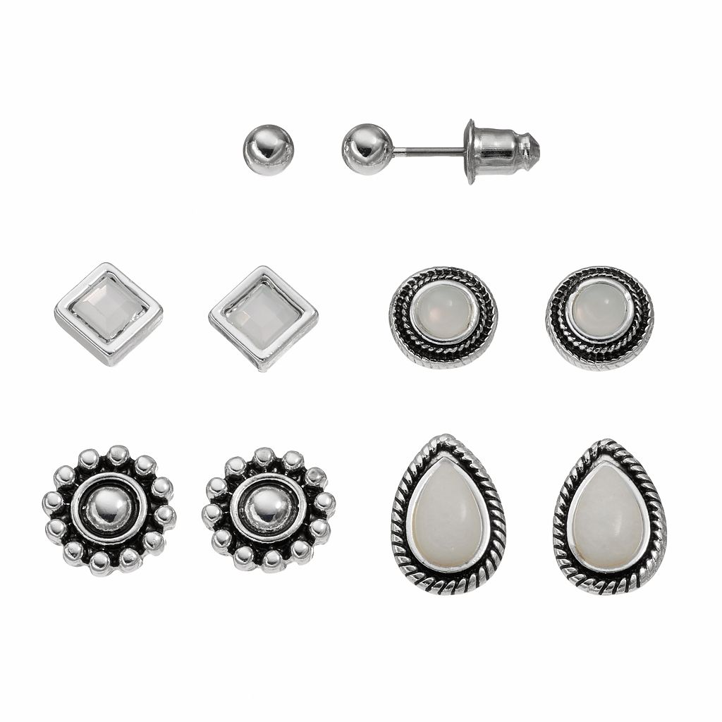 Ball, Circle, Teardrop & Square Nickel Free Stud Earring Set