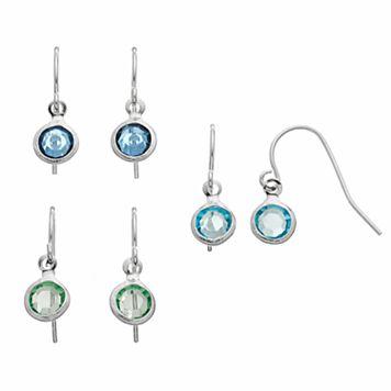 Simulated Crystal Circle Nickel Free Drop Earring Set