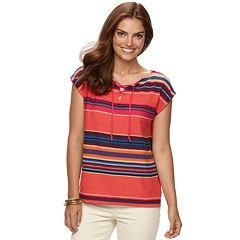 Women's Chaps Striped Linen-Blend Sweater