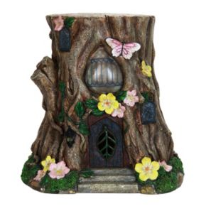 "Exhart 17"" Solar Floral Stump Statue Outdoor Decor"