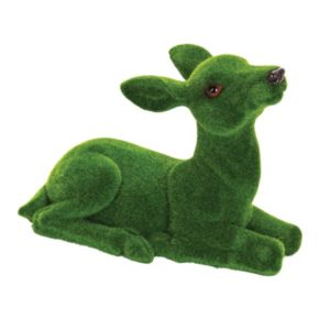 """Exhart 11"""" Faux Moss Coated Fawn Outdoor Decor"""