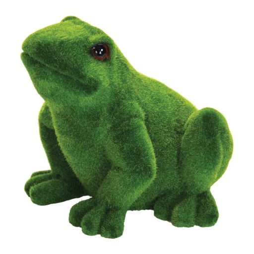 "Exhart 9"" Faux Moss Coated Frog Outdoor Decor"