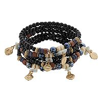 Black Bead & Hammered Disc Stretch Bracelet Set