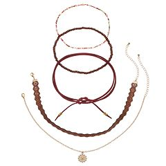 Mudd® Medallion, Cutout, Faux Suede & Beaded Choker Necklace Set