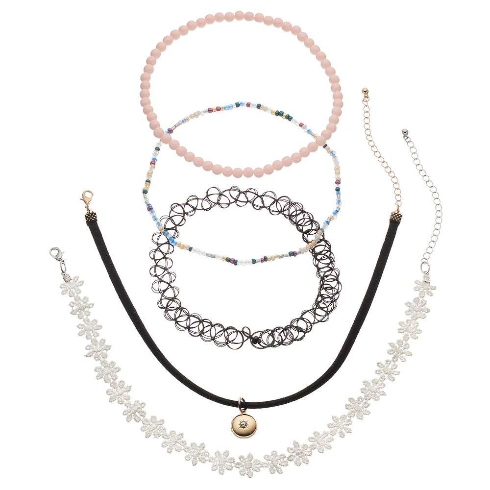 b44a981749 Mudd® Flower, Faux Suede, Tattoo & Beaded Choker Necklace Set