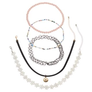 Mudd® Flower, Faux Suede, Tattoo & Beaded Choker Necklace Set